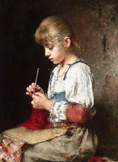 Alexei Alexeivich Harlamoff (Russian painter) 1848 - 1915 A Young Girl Crocheting, s.d. oil on canvas