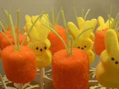 Easter land, dipped marshmallows as carrots