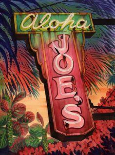 vintage neon sign art, Alison Studios.com, Fine Art, Original Watercolor Paintings, Vintage Neon Sign Paintings More Neon Fiction
