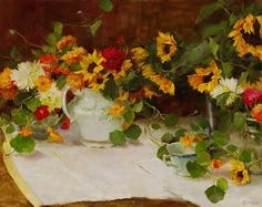 Autumn Still Life with Sunflowers by Kathy Anderson
