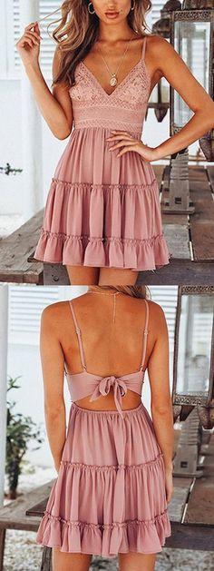 Pink Spaghetti Strap Plunge Lace Panel Open Back Mini Dress Hoco Dresses, Dance Dresses, Homecoming Dresses, Cute Dresses, Cute Outfits, Summer Dresses, 21st Dresses, Prom, Boho Dress