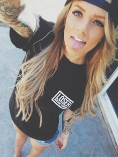 Shirt: loser letters blonde hair t- girl black pocket tee t- snapback denim quote on it truebeautyg