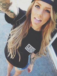 Shirt: loser letters blonde hair t- girl black pocket tee t- snapback denim quote on it truebeautyg