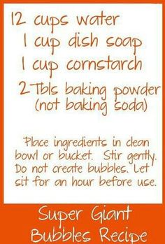Giant Bubble Recipe to try