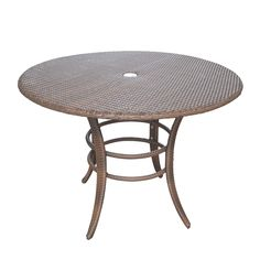 Features:  -Rust-Free aluminum frame.  -Weather and UV resistant.  -Maintenance free.  Table Shape: -Round.  Finish: -Antique brown.  Top Material: -Wicker/Rattan.  Inner Frame Material: -Aluminum. Di