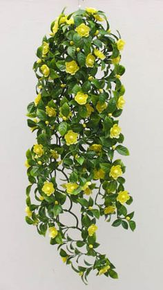 Image Detail For Artificial Yellow Camellia Trailing Plant Baskets Pots Ebay Hanging Plantshanging Basketsindoor