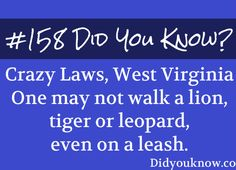 Crazy Laws, West Virginia