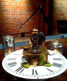 Fun centerpiece idea. Putting a clock face on circular decor!