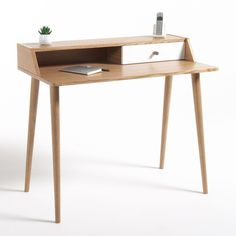 Hiba Steel/Solid Oak Desk with Shelving Unit LA REDOUTE INTERIEURS Industrial style furniture in solid joined oak and metal, providing 2 pieces of furniture in one. The Hiba desk-shelving unit combines contemporary. Home Office Furniture, Home Furnishing Accessories, Vintage Desk, Desk, Furniture, Pine Desk, Home Furniture, Office Desk, Desk With Drawers