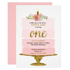 Pink Ombre Cake First Birthday Glitter Invitation. A watercolor ombre cake with gold accents is featured on this trendy girl's first birthday invitation. Use the template form to add your party details. The Customise feature can be used to add text to the Gold First Birthday, Pink Birthday, 1st Birthday Girls, Birthday Ideas, Ciara Birthday, Flower Birthday, Elephant Birthday, Birthday Cake, Birthday Decorations