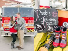 I am SO excited to share Jeromy and Becky's stunning firefighter baby announcement photos, but more than that, I'm honored to tell a piece of their story. Firefighter Pregnancy Announcement, Pregnancy Announcement To Husband, Baby Boy Announcement, Cute Baby Pictures, Baby Photos, First Baby Announcements, Baby Carrier Jacket, Firefighter Photography, Baby Girl Blankets