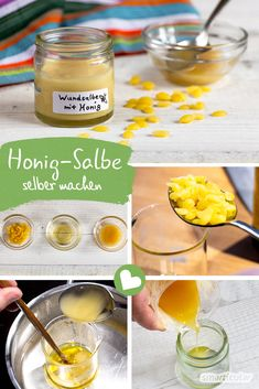 Healing wound ointment with honey - just do it yourself- Heilsame Wundsalbe mit Honig – ganz einfach selber machen A healing ointment can be made from natural honey, vegetable oil and beeswax – a benefit for irritated skin and sensitive baby buttocks. Diy Crafts To Do, Handmade Crafts, Diy Decorations Tutorial, Homemade Frames, Pure Cocoa Butter, Mary Recipe, Lemon Benefits, Handmade Cosmetics, Natural Honey