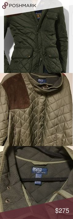 Ralph Lauren Quilted Coat Polo By Ralph Lauren Army Green Quilted Coat.       2XLT.  Suede Patch On Right Shoulder.  Very warm. Smoke free.  Worn a few times. No flaws or imperfections. Polo by Ralph Lauren Jackets & Coats Military & Field