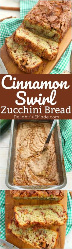 Loaded with garden fresh zucchini, and a cinnamon sugar swirl, this incredible zucchini bread will have you coming back for seconds! Perfect for an afternoon snack and great with your morning coffee, this simple zucchini bread recipe is amazing! by kathie Baking Recipes, Dessert Recipes, Cinnamon Recipes, Apple Cinnamon, Paleo Dessert, Cinnamon Rolls, Dinner Recipes, Best Zucchini Bread, Cinnamon Zucchini Bread
