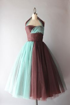 1950's Tulle Color block Halter Dress......Stunning!