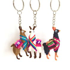 These adorable key rings are made from wire in the shape of a llama and wrapped in yarn. Indicate color preference at checkout or let us select colors you will love. - Handmade in Peru - Dimensions va