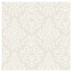 "Wallpaper with a damask motif. Made in the USA.  Product: WallpaperConstruction Material: PaperColor: Deep oyster and whiteFeatures:  Covers 56 square feetPre-pastedStraight matchMade in the USA Dimensions: 396"" H x 20.5"" W x 0.1"" D (overall)"