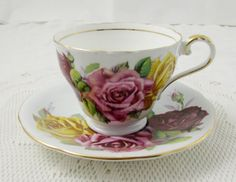 Aynsley Blue Grey Tea Cup and Saucer with Three Cabbage Roses, Bone China, Red, Pink, and Yellow Roses