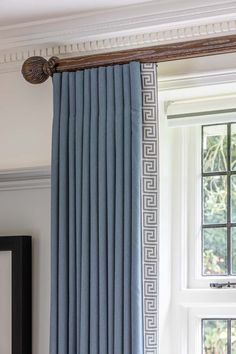 Blue wool full length curtains with Greek Key trim down leading edge on bespoke wooden pole. Interior Design Curtains, Apartment Interior Design, Interior Designing, Blue Curtains Living Room, Girls Bedroom Curtains, Greek Bedroom, Master Bedroom, Window Curtain Designs, Window Design