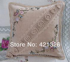 Дешевые ленты вышивка с ручной работы крючком кружева декоративные подушки без заполнения розница и опт 43 x 43 см GZ002 купить на AliExpress