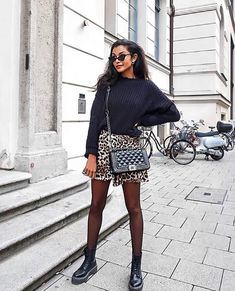 Leopard print shorts, black oversized sweater, black crossbody bag Source by win_n dress with tights fall outfits Mode Outfits, Casual Outfits, Fashion Outfits, Womens Fashion, Fashion Trends, Fashion Shorts, Fashion Fashion, Fashion Ideas, Fashion Black