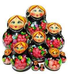 Black Russian potbelly 10 piece floral babushka doll hand painted with flowers is now on sale. Available in limited stock. Low price. Buy now and save.