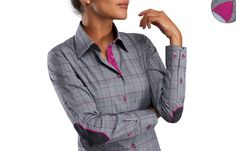 Grey Prince of Wales Patterned Women's Shirt with Fuchsia Lining, Dress Shirts for Men and Women at  French-Shirts.com
