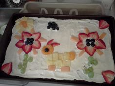 Cassy's Easter art on brownie fruit pizza.