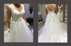 Most sleeveless plus size bridal #gowns has a v neck line. This beaded lace bodice is the same. The a-line style skirt is flattering. We are dressmakers in the USA that offer #brides affordable custom #plussizeweddingdresses that are made specifically for their style & preferences.  We can also replicate any dress in a picture.  Get pricing and more details on our process at www.dariuscordell.com