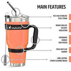 Great as a coffee travel mug! Coffee Travel, Travel Mug, Coffee Tumblr, Stainless Steel Straws, Brush Cleaner, French Press, Tumbler, Vacuums, Coffee Maker