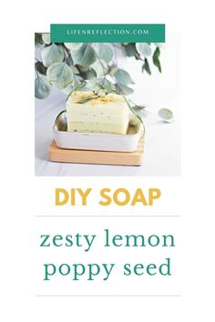 From its zesty lemon scent to its bright yellow color, I can't get enough of this DIY soap. But, the best part is the exfoliating texture of the poppy seeds. Soap Making Recipes, Soap Recipes, Soap Melt And Pour, Soap Supplies, Beauty Recipe, Home Made Soap, Poppy, Seeds, Lemon