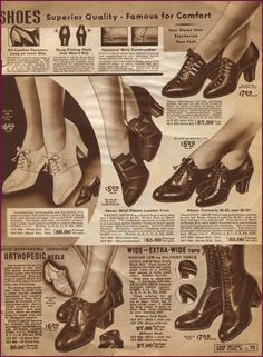 This Catalog Sunday is shoes shoes shoes from Lane Bryant, 1920s Shoes, Vintage Shoes, Vintage Outfits, Vintage Clothing, 1940s Fashion, Vintage Fashion, Vintage Winter, Fashion History, Vintage Advertisements