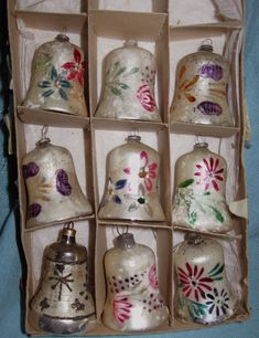 Vintage Christmas ornaments, hand painted glass bells.