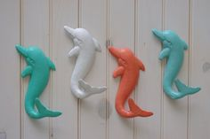 Beach Decor Cast Iron Dolphin Wall Hooks! PICK YOUR COLOR.