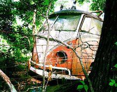 Abandoned Volkswagen bus inside an abandoned cemetery, Arkansas