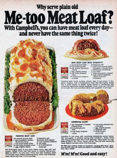 Campbells Soup Recipes, Frosted Meatloaf, Mini Meat Loaf with Spaghetti and Crowning Glory from 1968 Family Circle Magazine