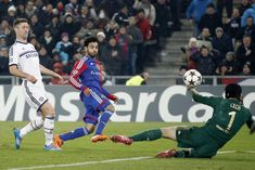 At St. Jakob Park, Mohamed Salah puts the ball past Chelsea 'keeper Petr Cech to secure a win for Basel, but Chelsea still progress to the next round. Mohamed Salah, Thing 1, Basel, Champions League, Chelsea, Basketball Court, Football, Baseball Cards, Sports