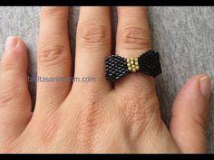 : Peyote ring with miyuki and swarovski beads beadng tutorial Seed Bead Tutorials, Jewelry Making Tutorials, Beading Tutorials, Beading Patterns, Bead Jewellery, Seed Bead Jewelry, Beaded Jewelry, Jewelry Rings, Handmade Jewelry
