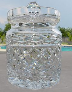 Bohemian/czech Strict Very Large Vintage Bohemia Crystal Lidded Container 1950s Art Glass
