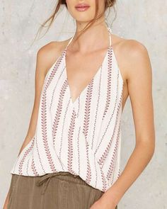 4bddfd941b1cdb Geometric stripe halter top for women white backless tank tops Topshop  Outfit, Diy Fashion,