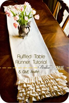 White Burlap Ruffled Table Runner $39 From JustKateEtc On Etsy | Home Decor  | Pinterest | Runners, Receptions And Colors