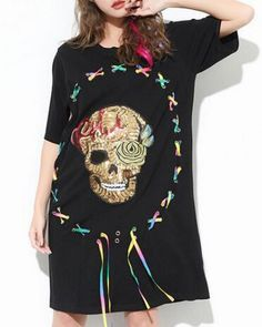Sequins skull t shirt dress long style lace up tops for teenage girls