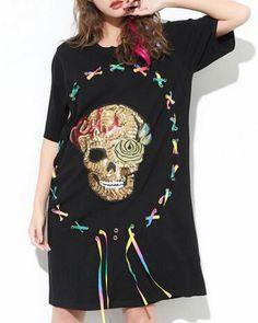 79f733191b5aa Sequins skull t shirt dress long style lace up tops for teenage girls Long Shirt  Dress
