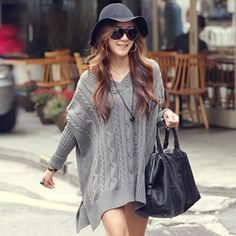 Knitted Jumper V Neck Side Split Thick Warm Sweater Pull Femme - Shops Hive