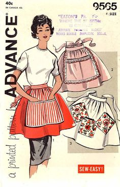 1950s half apron chef or bakers vintage sewing pattern by HeyChica