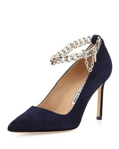 BB Chain 90mm Suede Pump, Navy by Manolo Blahnik at Bergdorf Goodman.