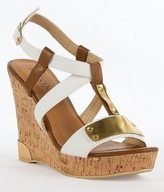 Women's #Fashion #Shoes Bucco Candice Wedge Sandals in White, Brown, and Gold