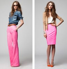 Love the flare leg and pencil skirt. I want to wear color like this!