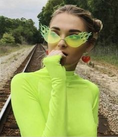 Shop Womens Glasses, Women's Designer Glasses, and Most Popular Women's Fashion Frames for Baddies and Fashionistas Who Love to Accessorize. Cute Sunglasses, Sunglasses Women, Sunnies, Look 80s, Cool Glasses, Funky Glasses, Womens Glasses, Unique Fashion, Neon Green