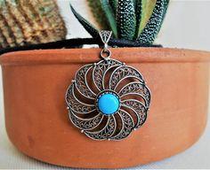Handmade Silver Necklace Ethnic Pendant Turquoise Pendant
